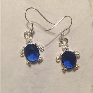 Cute little silver turtle drop earrings